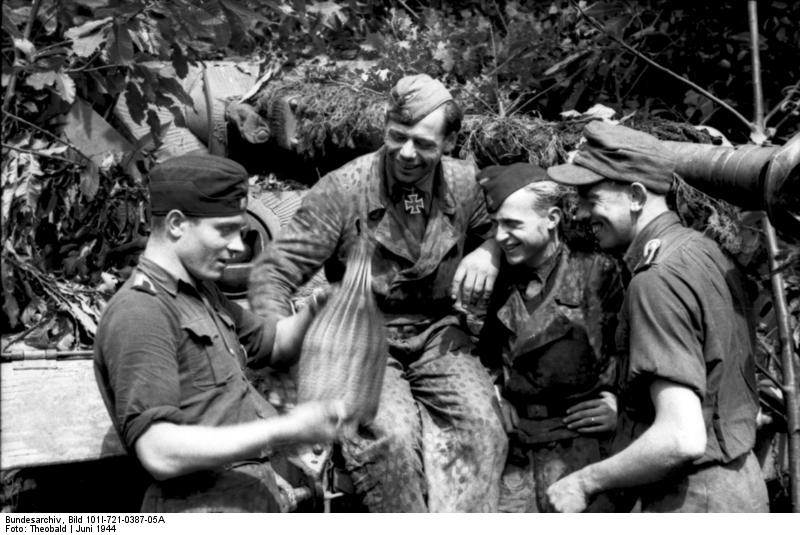 Members of the Waffen-SS in front of a camouflaged tank, France, June 1944